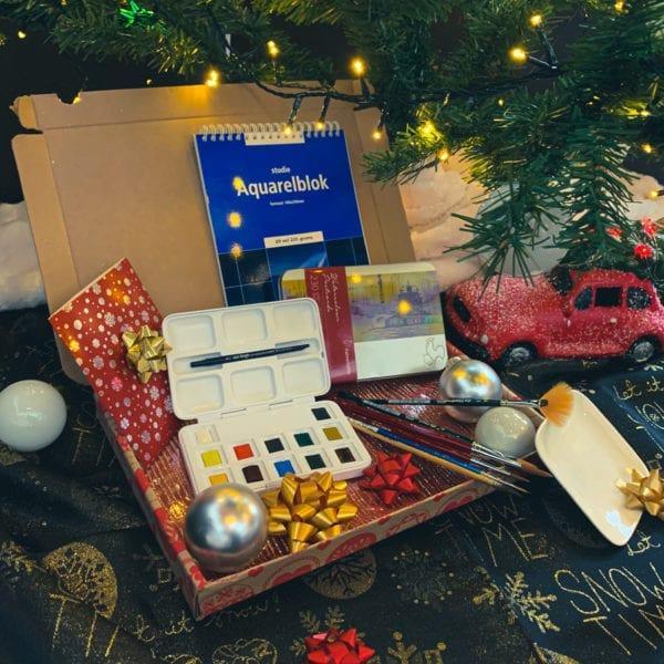 Kerstpakket Aquarel Nipjes Penselen Tekenpapier Tekenkaarten